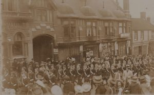 The Battalion marching up Middle Street to the County Show Ground.Photograph from the Jack Sweet collection