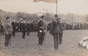 Major General Moody presents the new Battalion Colours.Photograph from the Jack Sweet collection